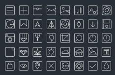 Pictogram Line Icon Set PSD
