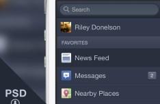 Dark Facebook Menu For iOS PSD