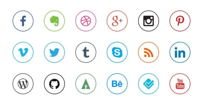 Mini Rounded Social Icon Set PSD