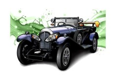 Classic Car Illustration with Water Splash Background Vector 01