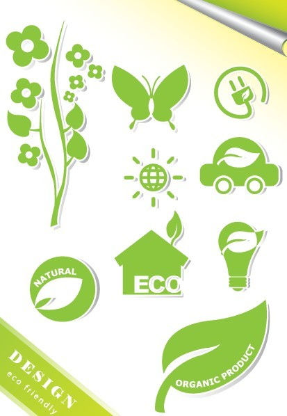 ECO Friendly Green Symbol Set Vector 07