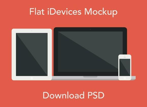 Flat Apple Devices Mockup PSD