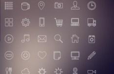 Simple Random Line Icons Pack PSD