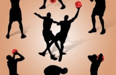 Basketball Man Silhouettes Vector