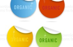 Colored Circular Organic Label Stickers Vector