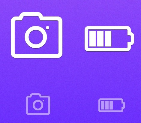 Simple Vector Camera and  Battery Icon