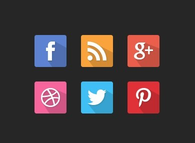 6 Long Shadow Rounded Social Icons PSD