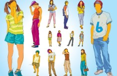 Fashion Young People Silhouettes Vector