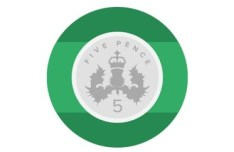 Flat Five Pence Icon PSD