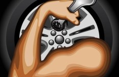 Muscular Arm with Wrench Vector Illustration