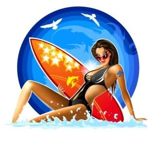 Vector Sexy Surfer Girl Illustration