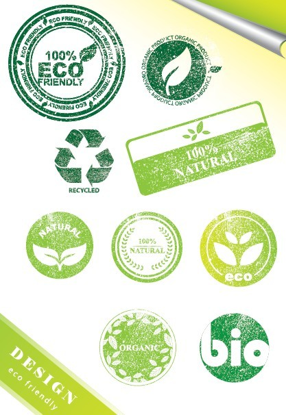 Vintage ECO Friendly Green Label Stickers Vector