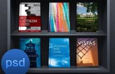 Dark Bookshelf UI PSD