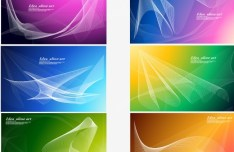 Set Of Vector Abstract Curved Lines with Colorful Backgrounds