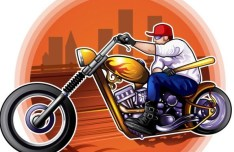 Vector Illustration Of Man Riding The Harley-Davidson Motorcycle