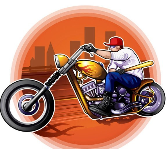 Vector Illustration Of Man Riding The Harley-Davidson Motorcycle