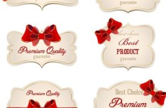 Set Of Sweet Labels with Ribbon Bows Vector 03