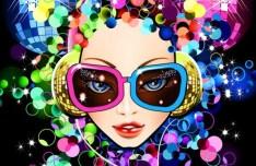Fashion Night Party Dancing Girl Vector Illustration 01