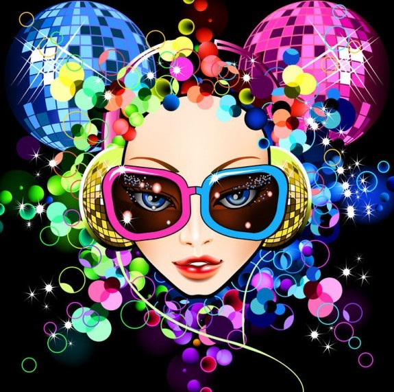 Fashion Night Party Dancing Girl Vector Illustration 01