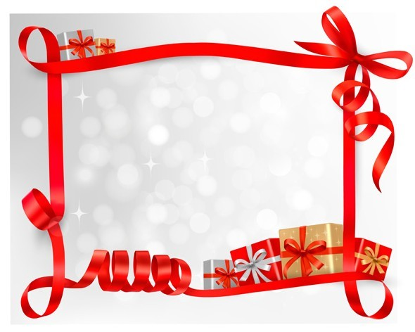 Red Gift Card With Ribbon Bow And Boxes Vector 03