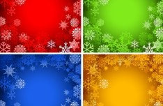 Set Of Colored Bright Snowflakes Background Vector 01