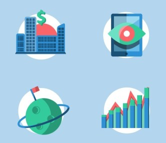 4 Flat Finance Icons PSD