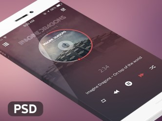 Dark Music Player For iPhone 6 PSD