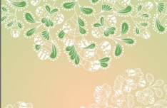 Fresh Green Leaves and Flowers Background Vector