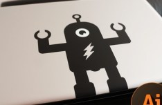 Macbook Pro Robot Sticker Vector