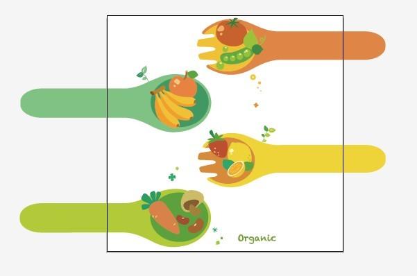 Vector Green Illustration Of Organic Foods 01