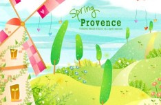 Cartoon Spring Provence Landscape Vector Illustration 01