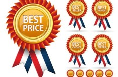 Set Of Vector Medals with Colored Ribbons