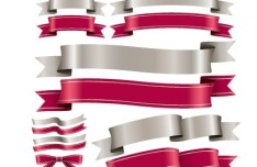 Set Of Vector Red and Sliver Ribbons and Bows