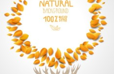 ECO Style Autumn Yellow Leaves Background Vector 01