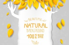 ECO Style Autumn Yellow Leaves Background Vector 02