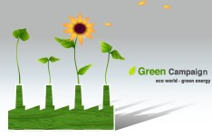 Green ECO World Campaign Green Energy Vector Illustration