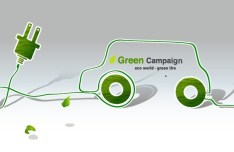 Green ECO World Campaign Green Tire Vector Illustration