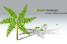 Green ECO World Campaign Wind Power Generation Vector Illustration