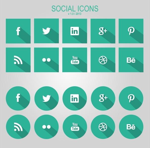 Flat Green Social Icons With Long Shadows