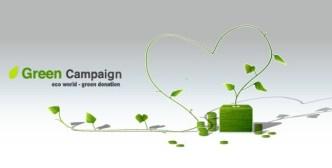 Green ECO World Campaign Green Donation Vector Illustration
