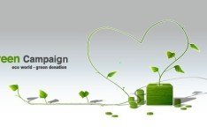 Green ECO World Campaign Green Donation Vector Illustration