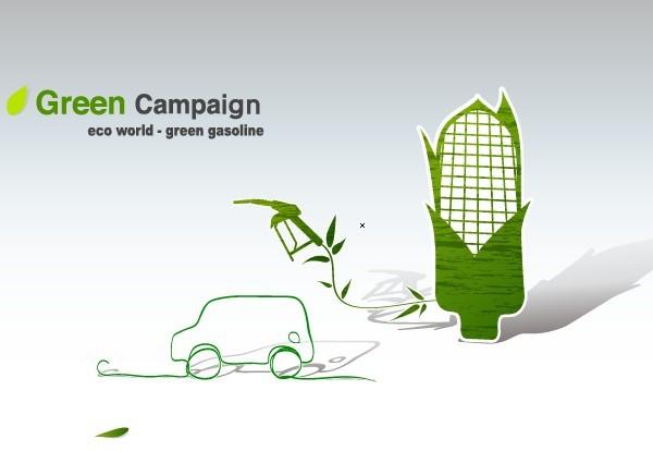 Green ECO World Campaign Green Gasoline Vector Illustration