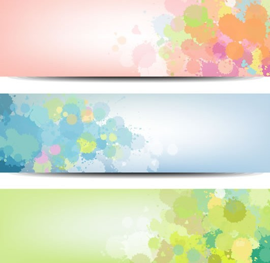 Set Of Vector Fresh Splashed Color Banners