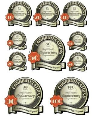 Set Of Circular Congratulations Labels with Ribbons Vector