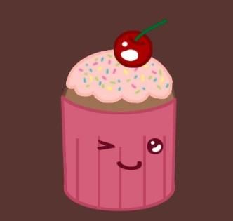 Cute Cartoon Cupcake PSD