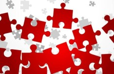 Red Puzzles Background Vector 03