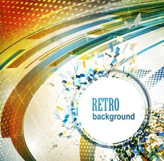 Retro Abstract Technology Background Vector 05