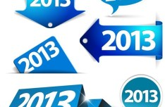 Set Of Blue 2013 Paper Labels and Stickers