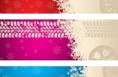 Set Of Colored Tire and Tire Print Banners Vector