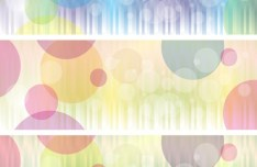 Set Of Vector Clean Banners with Colored Bubbles Backgrounds